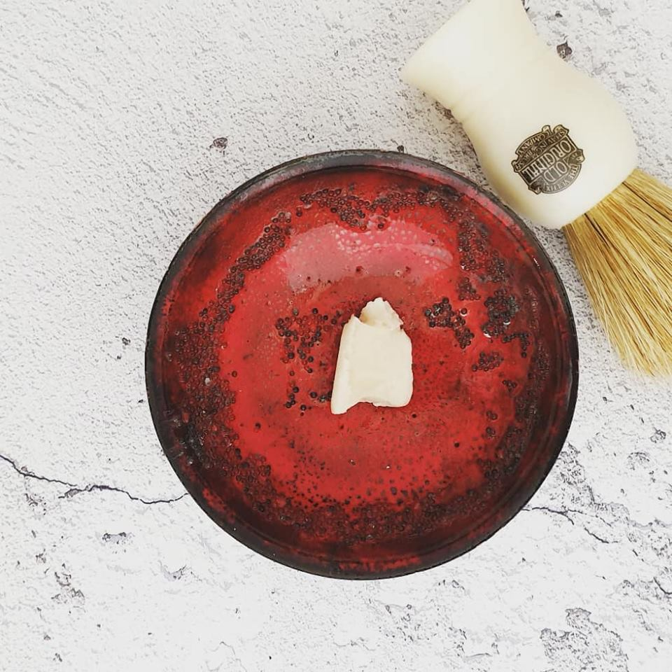 Red artisan shaving bowl | Agent Shave